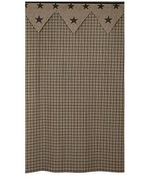 IHF New Vintage Star Black Shower Curtain Bathroom Cotton Fabric 72 X 72 Inches 0 300x360