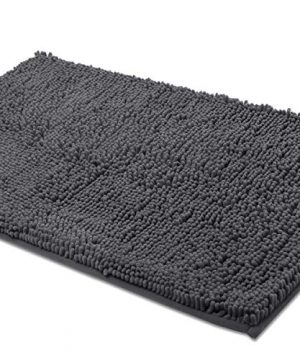 ITSOFT Non Slip Shaggy Chenille Bath Mat For Bathroom Rug Water Absorbent Carpet 21 X 34 Inches Charcoal Gray 0 300x360