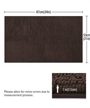 ITSOFT Non Slip Shaggy Chenille Soft Microfibers Bath Mat For Bathroom Rug Water Absorbent Carpet Machine Washable 21 X 34 Inches Chocolate Brown 0 0 300x360