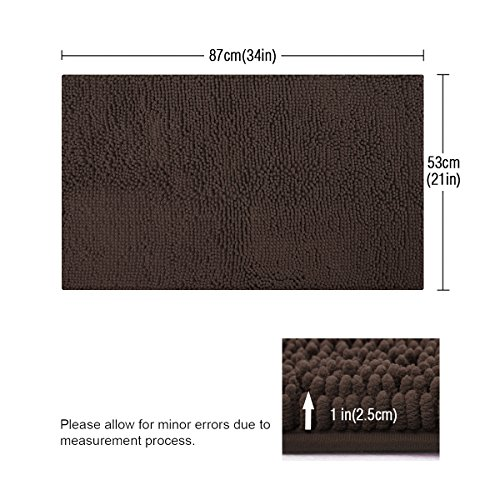 ITSOFT Non Slip Shaggy Chenille Soft Microfibers Bath Mat For Bathroom Rug Water Absorbent Carpet Machine Washable 21 X 34 Inches Chocolate Brown 0 0