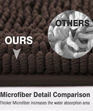 ITSOFT Non Slip Shaggy Chenille Soft Microfibers Bath Mat For Bathroom Rug Water Absorbent Carpet Machine Washable 21 X 34 Inches Chocolate Brown 0 2 300x360