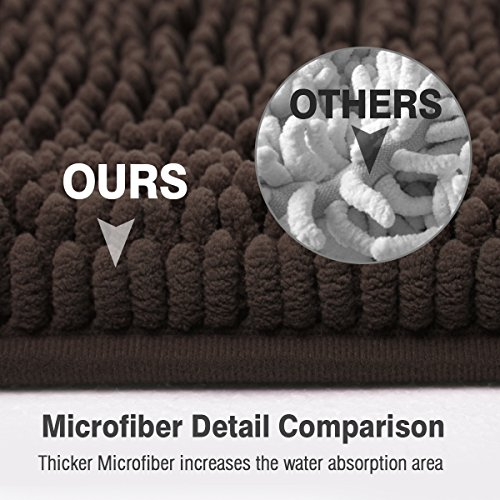 ITSOFT Non Slip Shaggy Chenille Soft Microfibers Bath Mat For Bathroom Rug Water Absorbent Carpet Machine Washable 21 X 34 Inches Chocolate Brown 0 2
