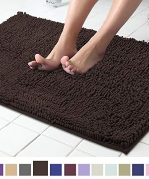 ITSOFT Non Slip Shaggy Chenille Soft Microfibers Bath Mat For Bathroom Rug Water Absorbent Carpet Machine Washable 21 X 34 Inches Chocolate Brown 0 300x360
