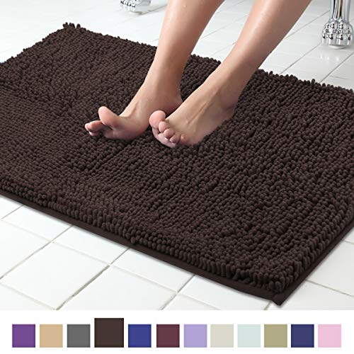 ITSOFT Non Slip Shaggy Chenille Soft Microfibers Bath Mat For Bathroom Rug Water Absorbent Carpet Machine Washable 21 X 34 Inches Chocolate Brown 0