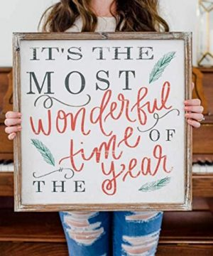Its The Most Wonderful Time Of The Year Wood Sign 18x18 Rustic Home Decor Christmas Sign Holiday Decor Winter Decorations Farmhouse Country Decorative Saying Fireplace Wooden Wall Decoration 0 0 300x360