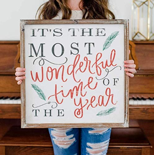 Its The Most Wonderful Time Of The Year Wood Sign 18x18 Rustic Home Decor Christmas Sign Holiday Decor Winter Decorations Farmhouse Country Decorative Saying Fireplace Wooden Wall Decoration 0 0