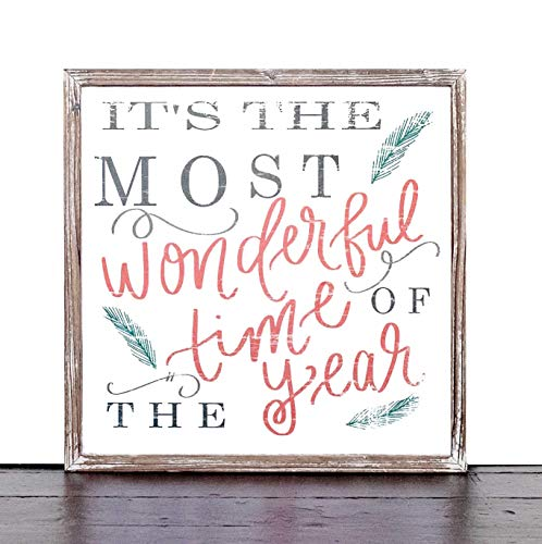 Its The Most Wonderful Time Of The Year Wood Sign 18x18 Rustic Home Decor Christmas Sign Holiday Decor Winter Decorations Farmhouse Country Decorative Saying Fireplace Wooden Wall Decoration 0 1