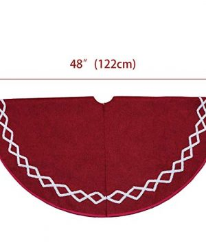 Ivenf Christmas Tree Skirt 48 Inches Large Burgundy Burlap Plain With White Lace Rustic Xmas Tree Holiday Decorations 0 0 300x360