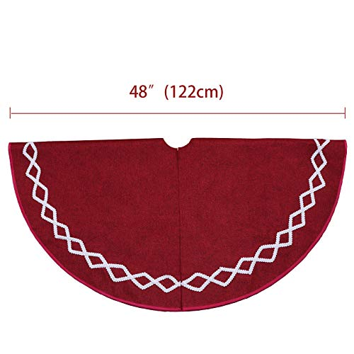 Ivenf Christmas Tree Skirt 48 Inches Large Burgundy Burlap Plain With White Lace Rustic Xmas Tree Holiday Decorations 0 0