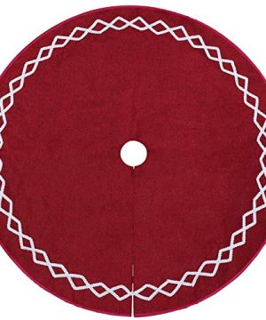 Ivenf Christmas Tree Skirt 48 Inches Large Burgundy Burlap Plain With White Lace Rustic Xmas Tree Holiday Decorations 0 3 300x360