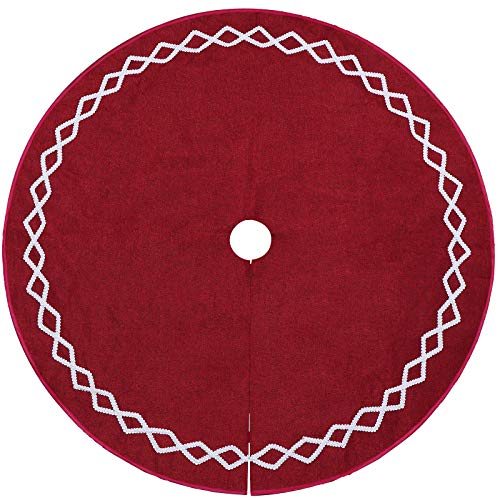 Ivenf Christmas Tree Skirt 48 Inches Large Burgundy Burlap Plain With White Lace Rustic Xmas Tree Holiday Decorations 0 3