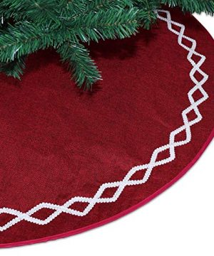 Ivenf Christmas Tree Skirt 48 Inches Large Burgundy Burlap Plain With White Lace Rustic Xmas Tree Holiday Decorations 0 4 300x360