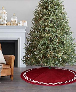 Ivenf Christmas Tree Skirt 48 Inches Large Burgundy Burlap Plain With White Lace Rustic Xmas Tree Holiday Decorations 0 5 300x360