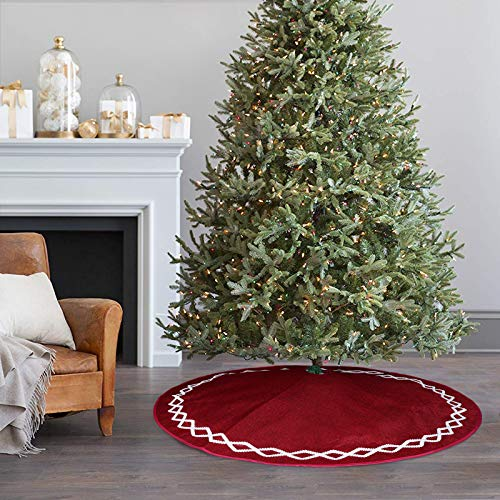 Ivenf Christmas Tree Skirt 48 Inches Large Burgundy Burlap Plain With White Lace Rustic Xmas Tree Holiday Decorations 0 5