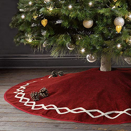 Ivenf Christmas Tree Skirt 48 Inches Large Burgundy Burlap Plain With White Lace Rustic Xmas Tree Holiday Decorations 0