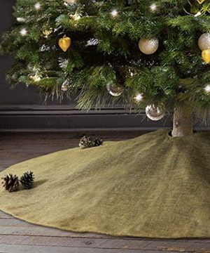 Ivenf Christmas Tree Skirt 48 Inches Large Burlap Double Layer Plain Skirt Rustic Xmas Tree Holiday Decorations 0 300x360