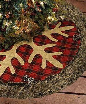 Ivenf Christmas Tree Skirt 48 Inches Large Burlap Plaid Snowflake With Thick Faux Fur Edge Skirt Rustic Xmas Tree Holiday Decorations 0 300x360