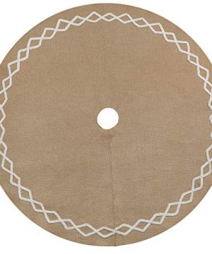 Ivenf Christmas Tree Skirt 48 Inches Large Natural Burlap Jute Plain With Hand Sewn White Lace Decor Rustic Xmas Tree Holiday Decorations 0 0 300x360