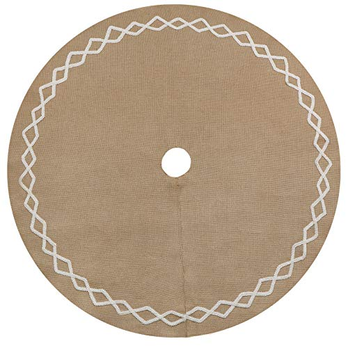 Ivenf Christmas Tree Skirt 48 Inches Large Natural Burlap Jute Plain With Hand Sewn White Lace Decor Rustic Xmas Tree Holiday Decorations 0 0