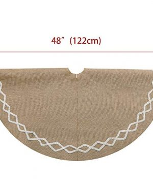 Ivenf Christmas Tree Skirt 48 Inches Large Natural Burlap Jute Plain With Hand Sewn White Lace Decor Rustic Xmas Tree Holiday Decorations 0 1 300x360