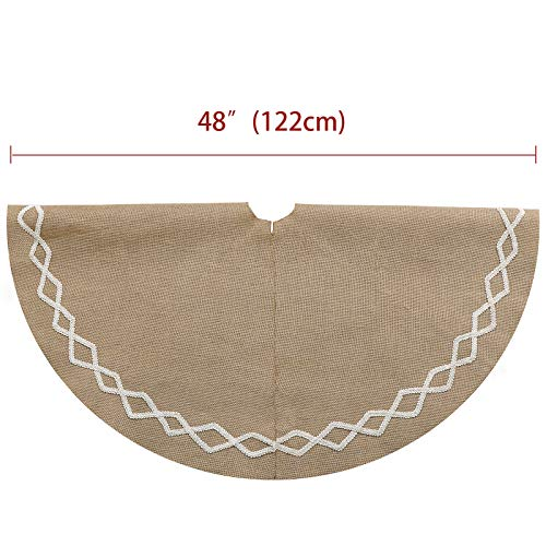 Ivenf Christmas Tree Skirt 48 Inches Large Natural Burlap Jute Plain With Hand Sewn White Lace Decor Rustic Xmas Tree Holiday Decorations 0 1