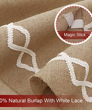 Ivenf Christmas Tree Skirt 48 Inches Large Natural Burlap Jute Plain With Hand Sewn White Lace Decor Rustic Xmas Tree Holiday Decorations 0 2 300x360