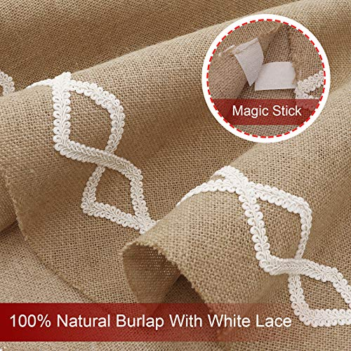 Ivenf Christmas Tree Skirt 48 Inches Large Natural Burlap Jute Plain With Hand Sewn White Lace Decor Rustic Xmas Tree Holiday Decorations 0 2