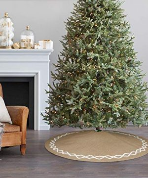 Ivenf Christmas Tree Skirt 48 Inches Large Natural Burlap Jute Plain With Hand Sewn White Lace Decor Rustic Xmas Tree Holiday Decorations 0 3 300x360