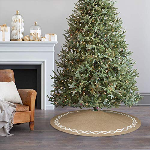 Ivenf Christmas Tree Skirt 48 Inches Large Natural Burlap Jute Plain With Hand Sewn White Lace Decor Rustic Xmas Tree Holiday Decorations 0 3