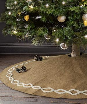 Ivenf Christmas Tree Skirt 48 Inches Large Natural Burlap Jute Plain With Hand Sewn White Lace Decor Rustic Xmas Tree Holiday Decorations 0 300x360