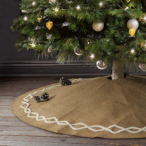 Ivenf Christmas Tree Skirt 48 Inches Large Natural Burlap Jute Plain With Hand Sewn White Lace Decor Rustic Xmas Tree Holiday Decorations 0