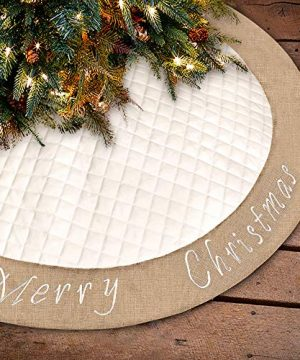 Ivenf Christmas Tree Skirt 48 Inches Large White Burlap Quilted With Embroidery Skirt Rustic Xmas Tree Holiday Decorations 0 300x360