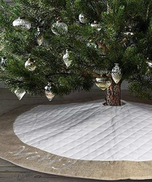 Ivenf Christmas Tree Skirt 48 Inches Large White Burlap Quilted With Embroidery Skirt Rustic Xmas Tree Holiday Decorations 0 4 300x360