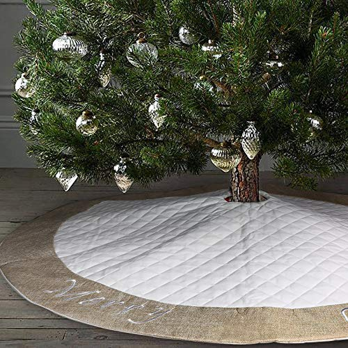 Ivenf Christmas Tree Skirt 48 Inches Large White Burlap Quilted With Embroidery Skirt Rustic Xmas Tree Holiday Decorations 0 4