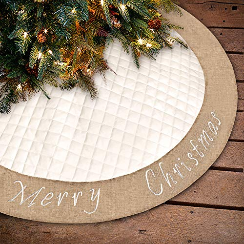 Ivenf Christmas Tree Skirt 48 Inches Large White Burlap Quilted With Embroidery Skirt Rustic Xmas Tree Holiday Decorations 0