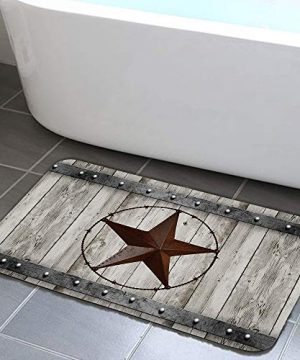JAWO Rustic Barn Star Bathroom Rug Non Slip Bath Mat With Design Retro Western Texas Star On Grey Wooden Grain Bathroom Accessories Shower Mat Kitchen Rug 17X29 0 300x360