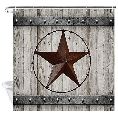 JAWO Rustic Wood Door With Southwestern Texas Star Shower Curtain For Bathroom Garage Barn Farmhouse Room Decor Bath Curtains72x72 Inches Shower Curtain 0 0