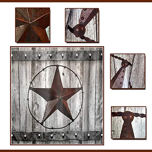 JAWO Rustic Wood Door With Southwestern Texas Star Shower Curtain For Bathroom Garage Barn Farmhouse Room Decor Bath Curtains72x72 Inches Shower Curtain 0 2