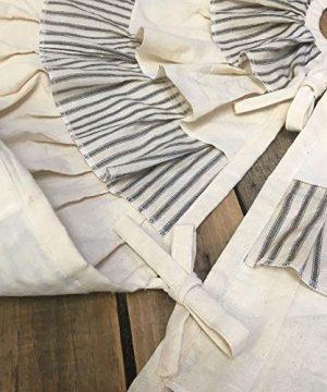 JCS 48 Inch Ruffled Tea Dyed Black Ticking Stripe Rustic Farmhouse Christmas Tree Skirt 0 1 300x360