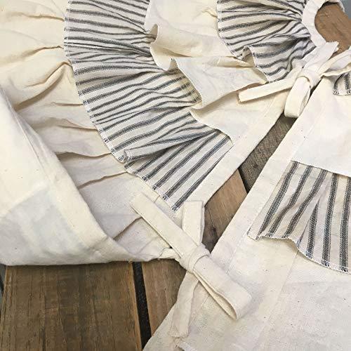 JCS 48 Inch Ruffled Tea Dyed Black Ticking Stripe Rustic Farmhouse Christmas Tree Skirt 0 1
