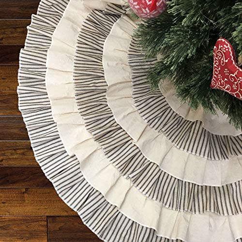 JCS 48 Inch Ruffled Tea Dyed Black Ticking Stripe Rustic Farmhouse Christmas Tree Skirt 0 2