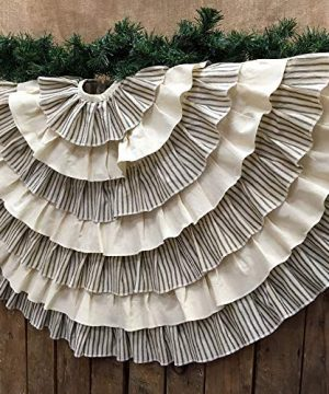 JCS 48 Inch Ruffled Tea Dyed Black Ticking Stripe Rustic Farmhouse Christmas Tree Skirt 0 300x360