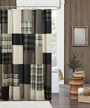 JLA Home INC Winter Hills Cotton Plaid LodgeCabin Shower Curtains For Bathroom 72 X 72 Tan 0 300x360