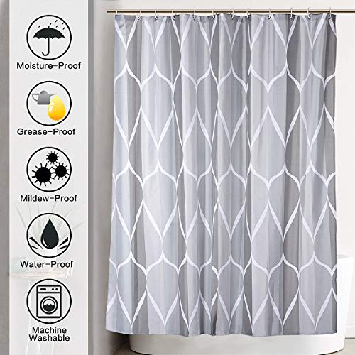 JRing Shower Curtain Polyester Fabric Waterproof Machine Washable With 12 Hooks 72x72 Inch 0 0