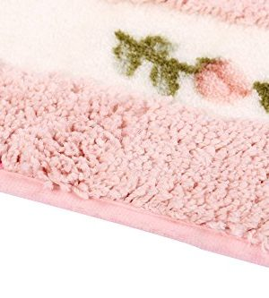 JSJCHENG Bath Rugs Mats For Bathroom Bedroom Kitchen Non Slip Microfiber Rose Floral Rectangular Rustic Home Decor 216 Inch By 472 Inch Pink 0 2 300x333