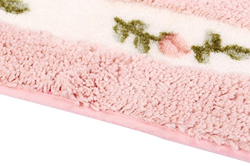 JSJCHENG Bath Rugs Mats For Bathroom Bedroom Kitchen Non Slip Microfiber Rose Floral Rectangular Rustic Home Decor 216 Inch By 472 Inch Pink 0 2