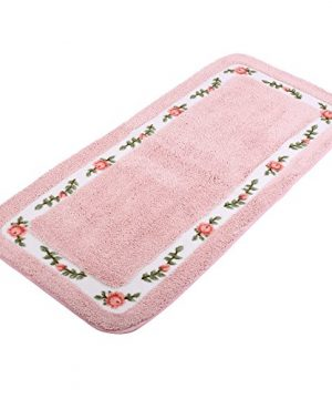 JSJCHENG Bath Rugs Mats For Bathroom Bedroom Kitchen Non Slip Microfiber Rose Floral Rectangular Rustic Home Decor 216 Inch By 472 Inch Pink 0 300x360