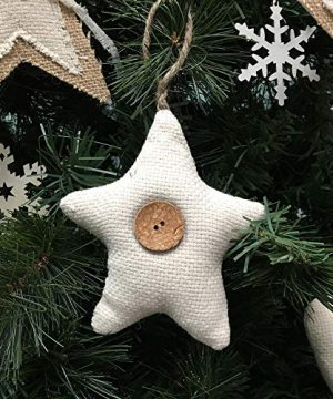 Jubilee Creative Studio Set Of 5 Natural White Cotton Fabric Star Rustic Farmhouse Ornaments With Wood Button 0 2 300x360