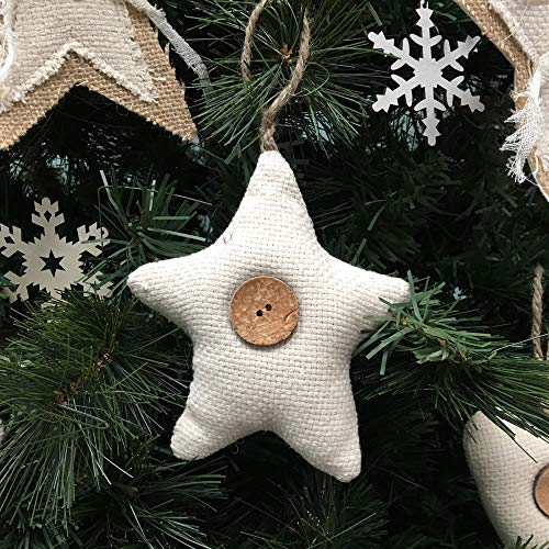 Jubilee Creative Studio Set Of 5 Natural White Cotton Fabric Star Rustic Farmhouse Ornaments With Wood Button 0 2