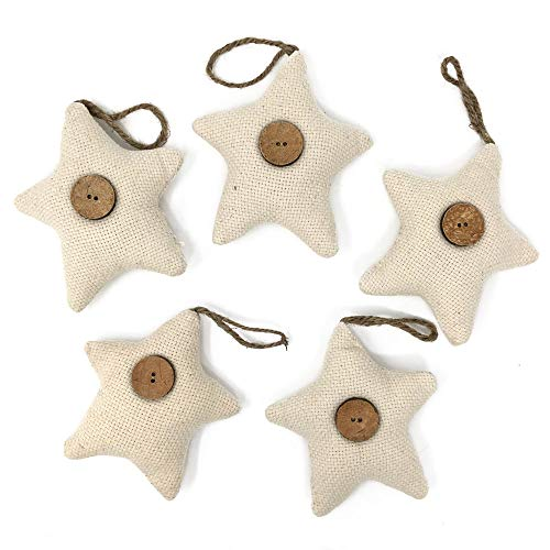 Jubilee Creative Studio Set Of 5 Natural White Cotton Fabric Star Rustic Farmhouse Ornaments With Wood Button 0